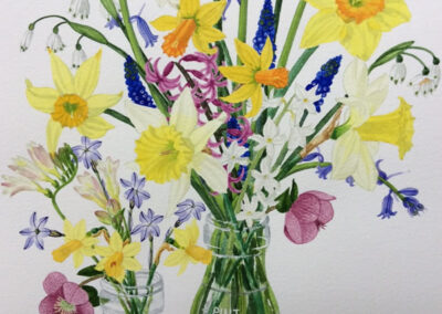 Spring Flowers in Cream Jars