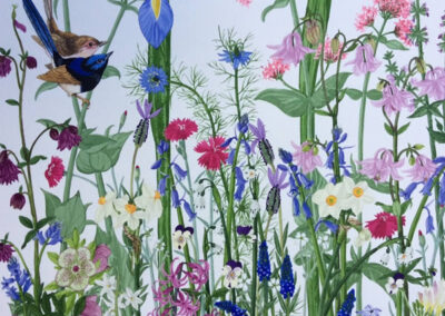 Spring Flowers with Blue Wren